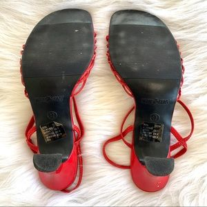 Vintage Shoes - Vintage 90s Red Strappy Square Toe Spool Heels